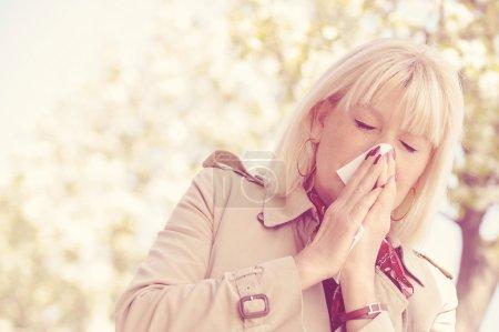 Senior Woman Allergy Pollen
