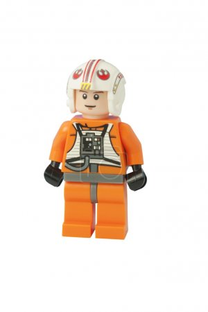Photo for ADELAIDE, AUSTRALIA - October 17 2014:A studio shot of a Luke Skywalker Lego minifigure from the movie series Star Wars. Lego is extremely popular worldwide with children and collectors. - Royalty Free Image