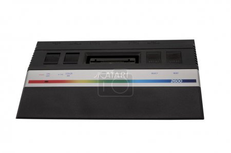Photo for ADELAIDE,AUSTRALIA - October 27 2014:A studio shot of a vintage Atari 2600 gaming console. Initially released in 1977, Atari is credited with popularizing microprocessor-based hardware and cartridges with game code - Royalty Free Image