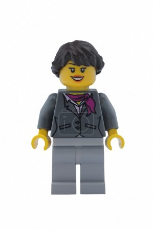 Photo for ADELAIDE, AUSTRALIA - January 09 2015:A studio shot of a Woman Lego City minifigure from the popular Lego Series. Lego is extremely popular worldwide with children and collectors. - Royalty Free Image