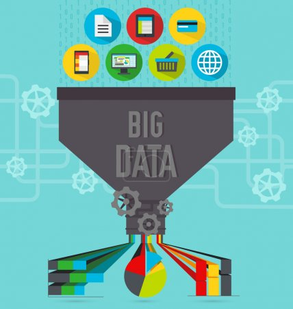 Illustration for Illustration of big data function and usage - Royalty Free Image