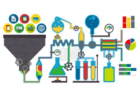 Illustration for Illustration of data laboratory with funnel and charts - Royalty Free Image