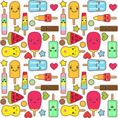 Kawaii ice cream and popsicles cute seamless pattern