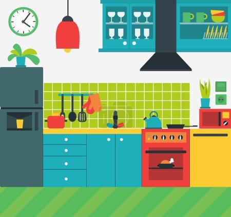 Illustration pour Illustration vectorielle colorée de l'intérieur de la cuisine avec divers appareils modernes cuisinière, réfrigérateur, etc. . - image libre de droit