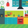 Colorful vector illustration of kitchen interior w...