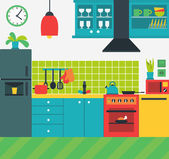 Colorful vector illustration of kitchen interior with various modern appliances - cooker fridge etc
