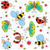 Cartoon character drawing seamless pattern with garden cute insects and white background vector illustration
