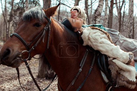 Mongolian girl with horse