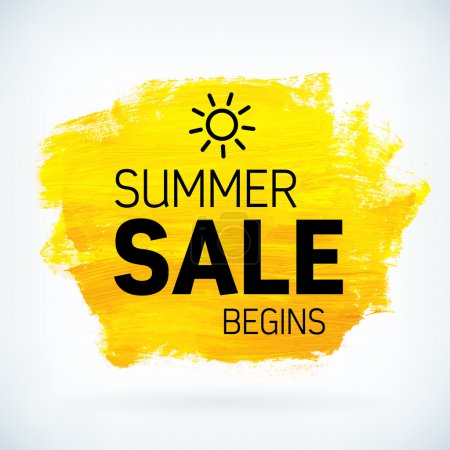 Yellow hand paint artistic dry brush stroke summer sale.