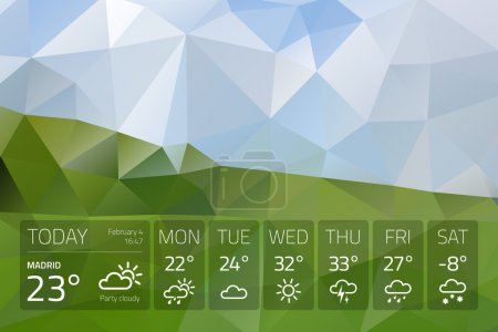 Weather widget template on nature abstract background