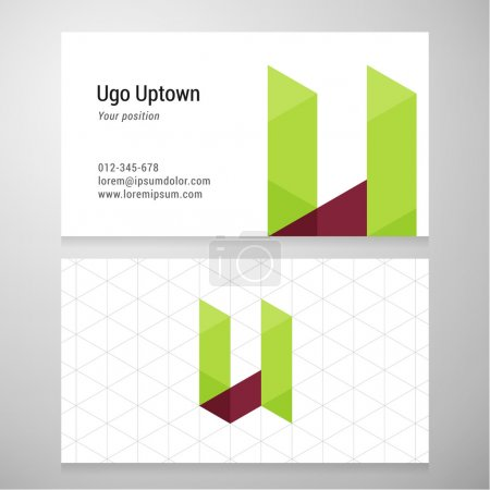 Modern letter U origami Business card template