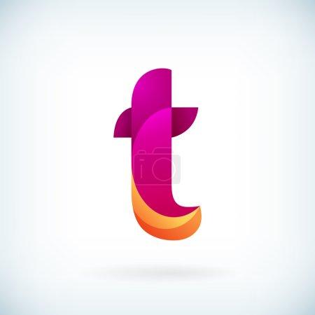 Illustration pour Modèle moderne d'élément de conception d'icône de lettre t torsadée - image libre de droit