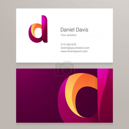 Modern letter D twisted Business card template