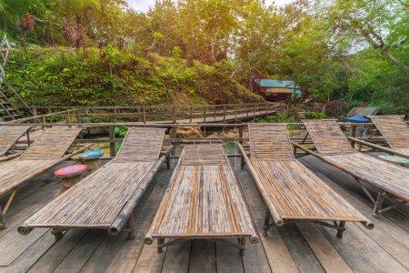 bamboo Wooden sunbeds in Tad Sae Waterfalls at Luang prabang, La