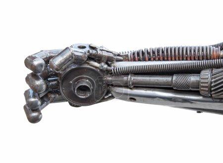 Photo pour Main de cyber métallique ou robot fabriqué à partir de boulons et écrous à cliquet mécaniques . - image libre de droit