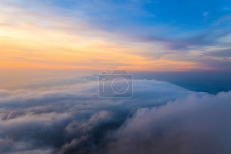 colorful of Sunrise scene with Mist on mountain at Doi Mokoju Th