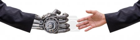 hand of man and cy-ber robot  hand in suit with handshake isolat