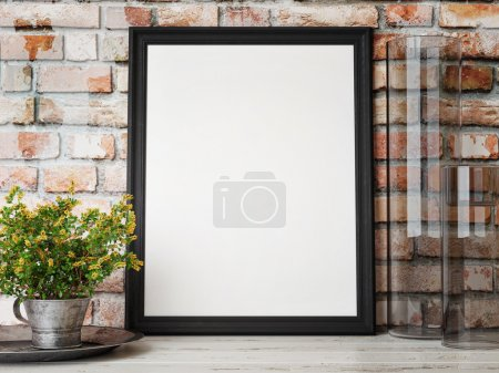 Photo for Mock up poster, interior composition, brick wall, flowers, white poster, 3d render - Royalty Free Image