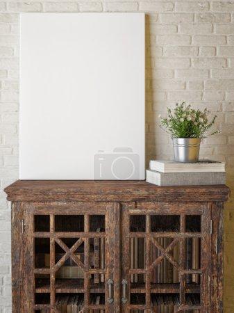 Mock up poster, red roses, drawer on white background, 3d render