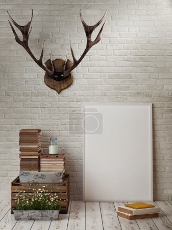 Mock up frame, hipster's concept, horn, books, 3d render