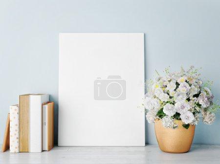 White mock up frame, rose gold-hipster background, 3d rendering