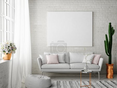 Photo for Mock up poster with vintage hipster loft interior background, 3D rendering - Royalty Free Image