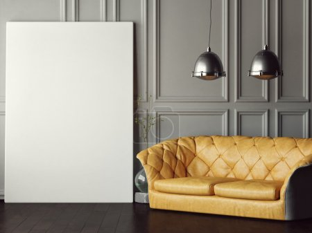 Big mock up poster, leather sofa