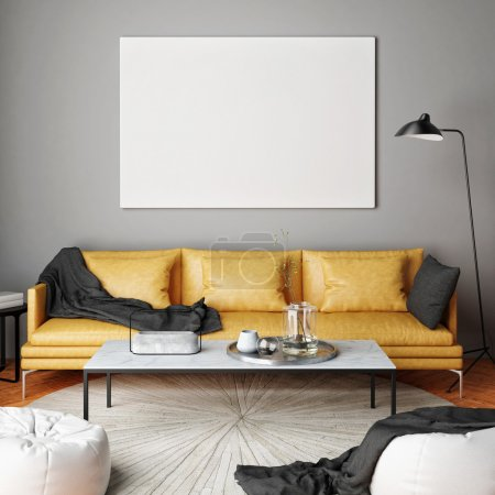 Photo for Mock up poster, interior composition, sofa, lamp and white poster, 3d render - Royalty Free Image