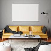 """Постер, картина, фотообои """"Макет плаката, интерьер композиция, диван, лампа и белый плакат"""""""