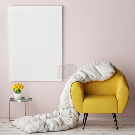 concept of comfortable interior with mock up poster