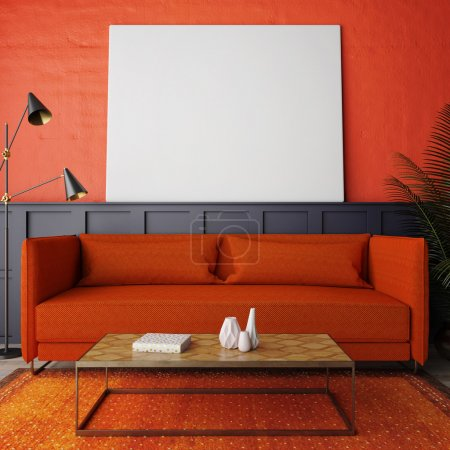 Concept of red living room, mock up poster, 3d rendering