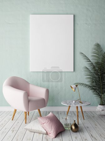 Photo for Mock up blank poster on the wall of hipster living room, 3D rendering - Royalty Free Image