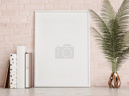 Photo pour Maquette frame sur mur de briques roses, rendu 3d - image libre de droit