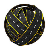 Tangle Ball of Road Isolated on White Background