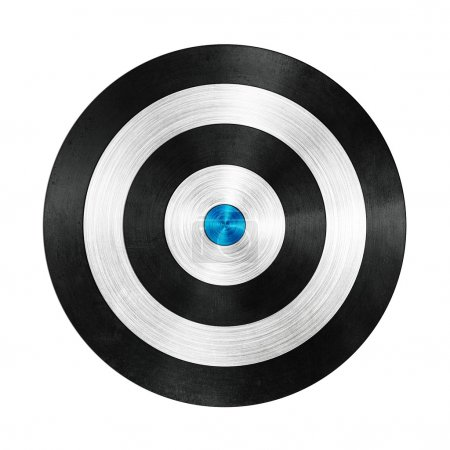 Black and Blue Darts Target Aim on White