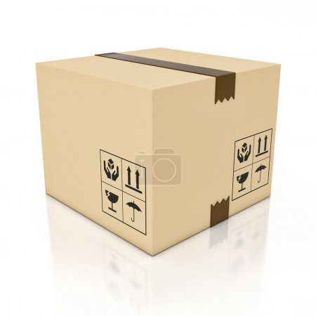 Photo for Cardboard box isolated on white - Royalty Free Image
