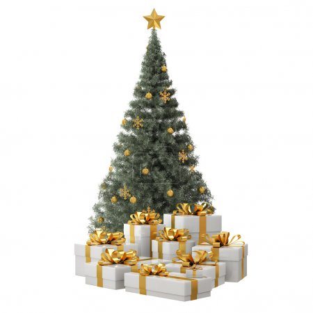 Green Christmas Tree with Golden Gifts