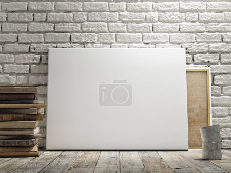 Mock up poster in white brick wall, wooden floor and wintge background. Horizontal concept