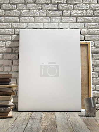 Mock up poster in white brick wall, wooden floor and wintge background. Vertical concept