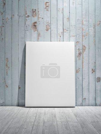 Photo pour Affiche sur le sol, mur de planches en bois bleu - image libre de droit