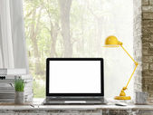 Mock up Laptop, Outdoor view, background