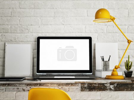 Photo for Laptop on table, White brick wall background - Royalty Free Image