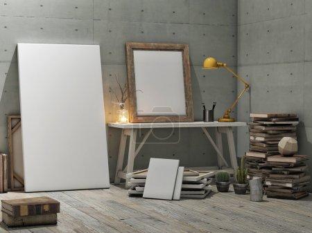Photo pour Affiche maquillée, studio loft, fond mural en béton - image libre de droit
