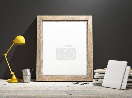 Mock up Frame on Wooden Floor, grey wall