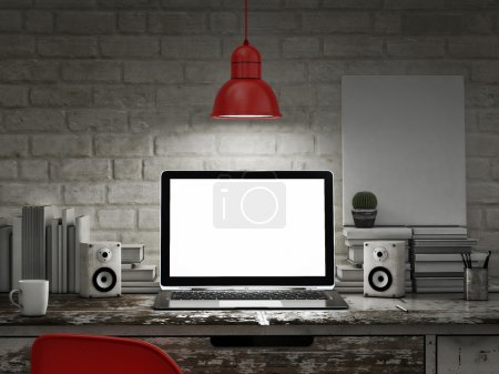 Photo for Laptop in night room, mock up background - Royalty Free Image