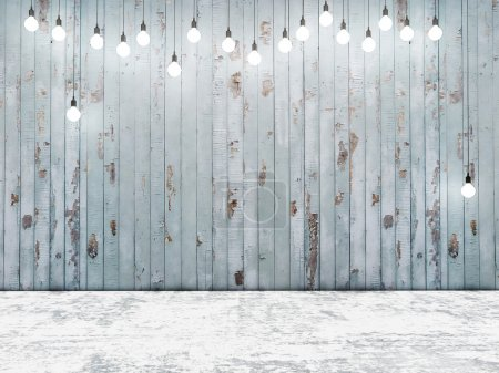 Photo for Blue wooden wall with ligh bulbs, background - Royalty Free Image