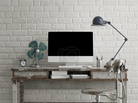 Mock up monitor on table, white brick background