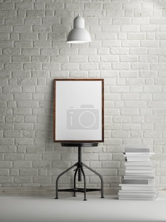 3d rendering of frame on white brick background