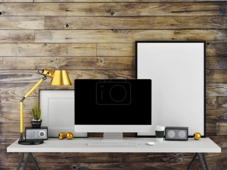 Mock up work space, wooden wall background, 3d illustration