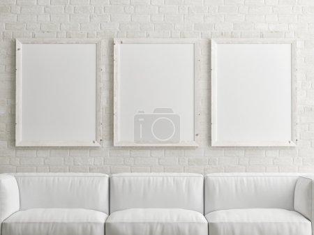 Photo pour Maquette affiche blanche sur mur de briques - image libre de droit